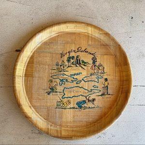 Virgin Islands wood map tray